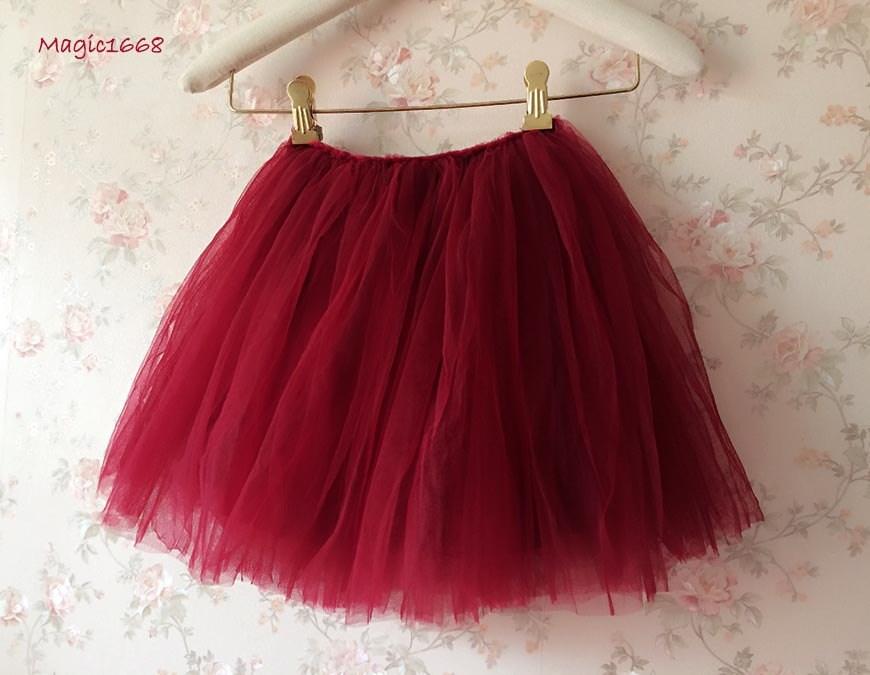 eff609aa5 Girls Tulle Skirt Deep Red Wine Red Tulle Skirt. Baby Tutu. Flower Girls  Tutu ,Wedding Party Skirt, Red Tutu. Soft Tutu any color US4/4T/5/6
