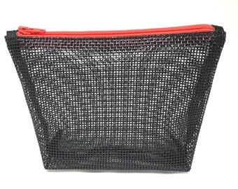 Medium Black Mesh Cosmetic Bag, Mesh Cosmetic Bag, Mesh Makeup Bag, Medium Cosmetic Bag, Black Cosmetic Bag, Black Makeup Bag