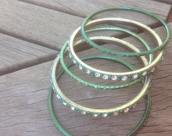 Glass Bangles from India with Rhinestones