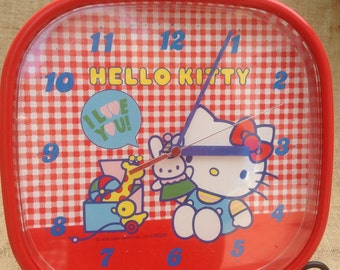 Hello Kitty Wall Clock Red Vintage