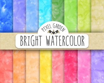70% OFF SALE. Watercolor Digital Paper. Hand Painted Digital Watercolors. Rainbow Watercolour Scrapbook Paper. Watercolour Background.