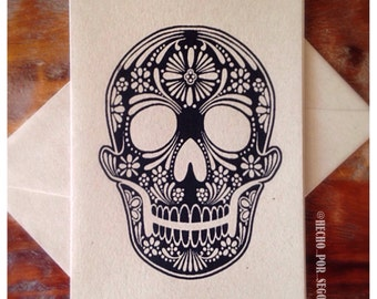 Screen printed Skull Greeting Card