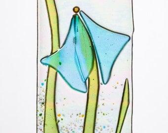 Handmade Graceful Aqua Blue Iris Fused Glass Sucatcher Ornament on Rainbow Iridescent Glass