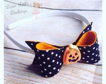 Halloween Headband, Bow, Pumpkin, Trick or Treat, Dress Up
