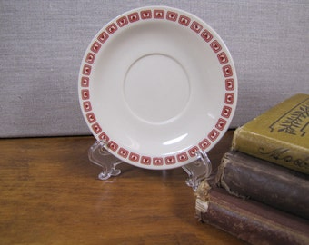 Small Vintage Saucer - Tan With Red Patterned Border