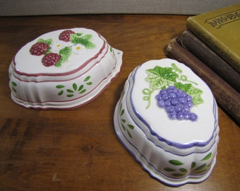 Decorative Ceramic Molds - Wall Decor - Grape and Berry Patterns - Set of Two (2)