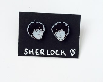 Sherlock Holmes earring studs. Perfect gift for the detective fans.Sterling silver studs. Sherlock earrings by Outlaws and Skeletons