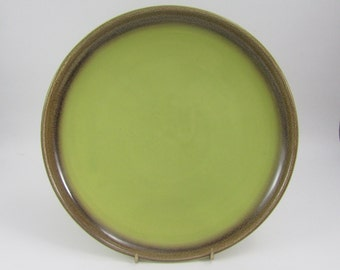 Vintage Bauer Plate Two Tone Chartreuse Green and Brown, California Pottery Dinner Plate