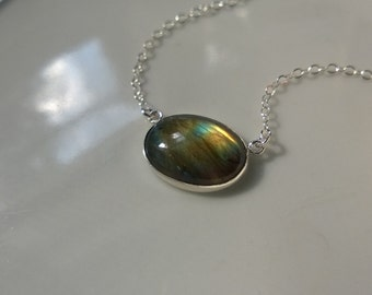 Labradorite necklace in sterling silver; oval gemstone necklace; horizontal oval pendant; silver and natural gemstone pendant necklace