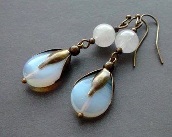 earrings Moonstone Opalite Agate. earrings light blue. earrings milky. great gift for her. bachelorette party. bridesmaid gift. summer party