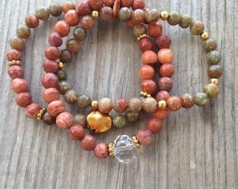 Canyon Bracelet Trio (handmade, gemstone)