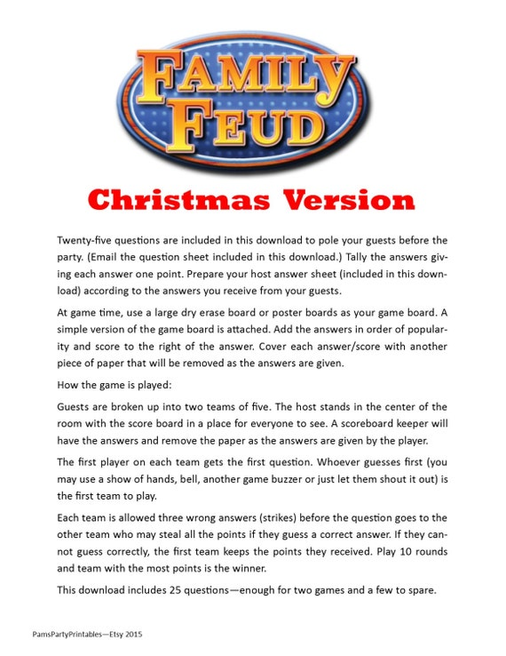 Luscious image regarding family feud questions and answers printable free