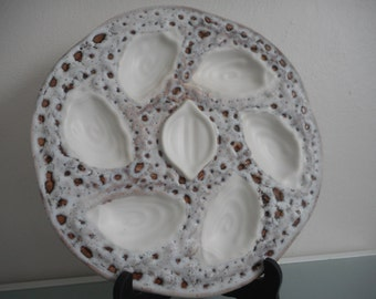 stunning vintage French pottery / ceramic oyster plate