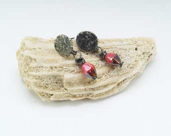 Recycled, oxidised sterling silver stud earrings with red and chocolate brown glass beads