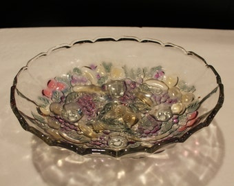 Vintage Indiana Glass Fruit Bowl, Clear with Colored Glass Fruit  4 Legged Bowl, Oblong Fruit Bowl, Console Bowl (D073)