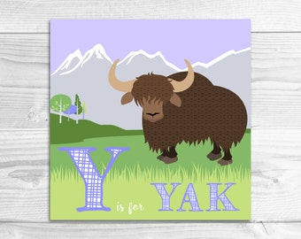 Instant Download: Y is for Yak Wall Art Print // Baby Art, Nursery Art, Alphabet Art