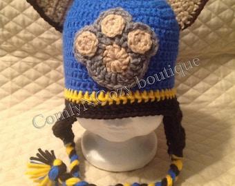 Crochet Hat Pattern Paw Patrol : Crochet Paw Patrol Marshall inspired hat
