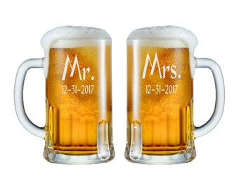 Mr. Mrs. Beer Mugs -  12oz. / Personalized Wedding Glasses / Custom Engraved / Etched / Wedding Glasses / Beer Gifts / Set of 2 - 48 Fonts
