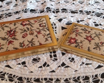 Two Vintage Brass and Brocade Photo Compacts