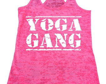 YOGA GANG Burnout Racerback  Tank Top Workout Gym Fitness Running Motivational