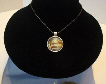 Sailboat Necklace, Vintage Stamp Necklace, Maryland Stamp, Stamp Jewelry, Ratification Commemoration, Stamp Pendant, OOAK, MarjorieMae