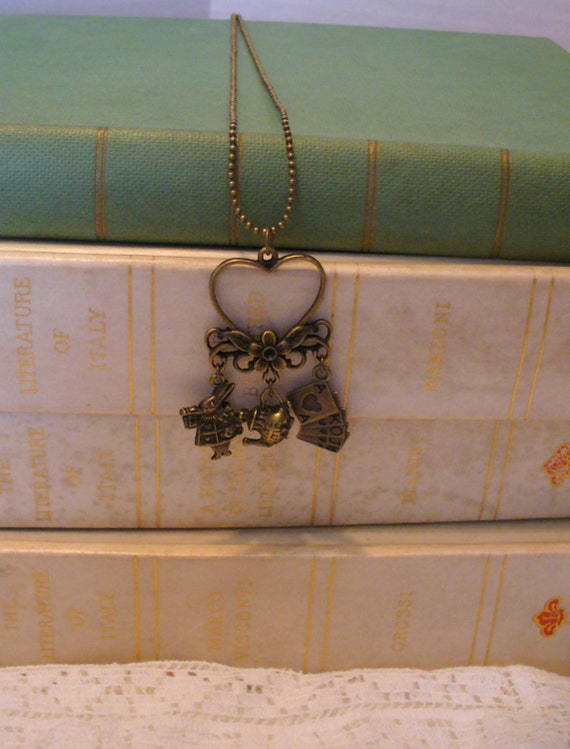 Book Nook Necklace, Rabbit, Tea Pot, Playing Cards, and Heart Chandelier Alice in Wonderland Inspired, Story Necklace, Lewis Carroll