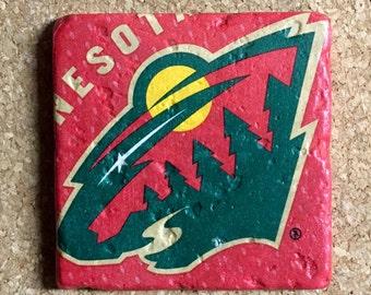 Minnesota Wild Coasters ~  Set of 4 Stone Coasters ~Coasters ~ Natural Stone Tile Coasters ~ Hockey Coasters
