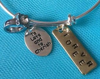 Love bracelet; wedding bracelet; love charm bracelet; bride bracelet; bridal gift