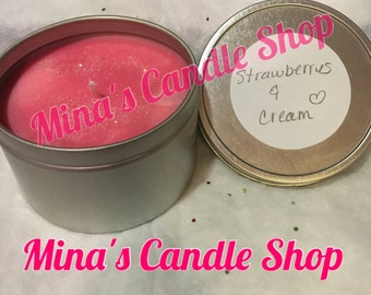 Natural soy wax candles 8oz candle tins.