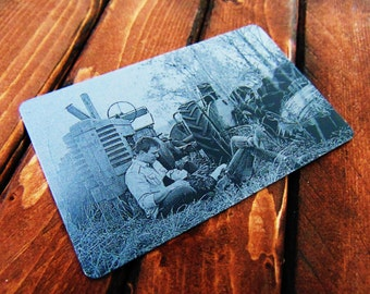 Engraved Wallet Insert With Picture Personalized Custom Etched on Anodized Aluminum  Groomsman Gift Fathers day