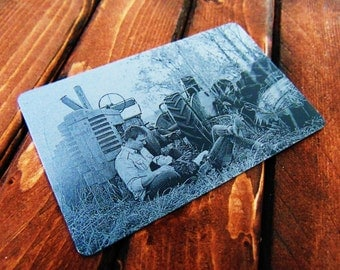 Engraved Wallet Insert With Picture Personalized Custom Etched on Anodized Aluminum  Groomsman Gift Christmas gift