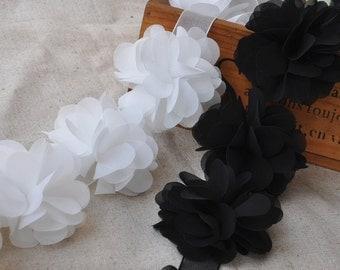 High Quality Black Flowers Lace Trim DIY Handmade Accessory 14pcs B0132
