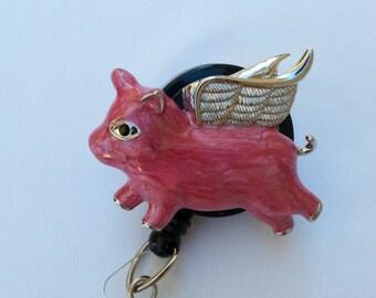 Pink Flying Pig Badge Holder