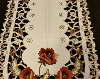 Brown & Off White Flower Table Runner