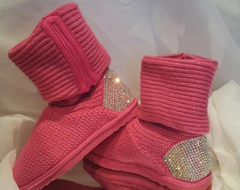 BLING Kids Rhinestone Knit Boot, Rhinestone Embellished Kids Boot, Custom Boots, Kids Blinged Boots, Women's Custom Boots, Customized Shoes