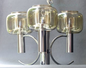 chandelier 70s - vintage chrome suspension - mid century during