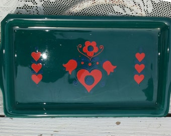 Folklore dish from the retro time * In green with orange-red and blue hearts & flowers/Folklore/Bohemian Art/East European/