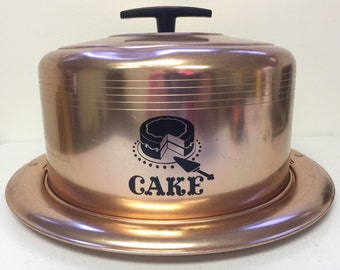 Vintage West Bend Copper Tone Cake Carrier Black Handle Aluminum Mid Century Some Dents and Wear