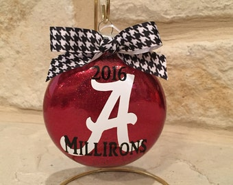 University of Alabama Personalized Crimson Glitter Glass Ornament