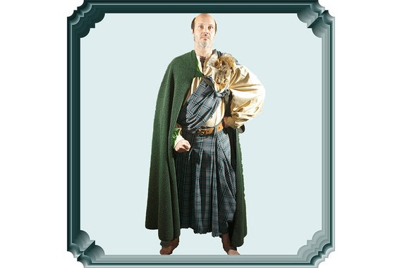 Medieval men great kilt & imitation sheepskin cloak Ancient highlander costume