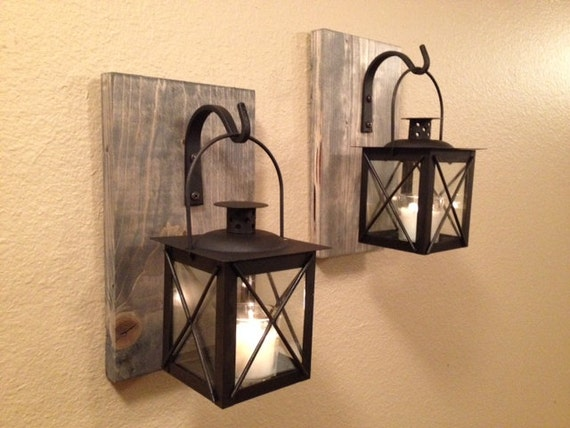 Rustic Bathroom Decor Wrought Iron Lantern Set Wall Sconce