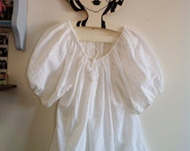 70s romantic white eyelet blouse with huge balloon puffy sleeves / small - medium - large