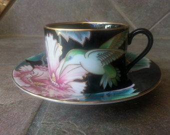 Vintage Fitz and Floyd Hummingbird 403 Cup and Saucer  Hard to Find Black Mint Condition Great Replacement Piece or Purchase Up to Six
