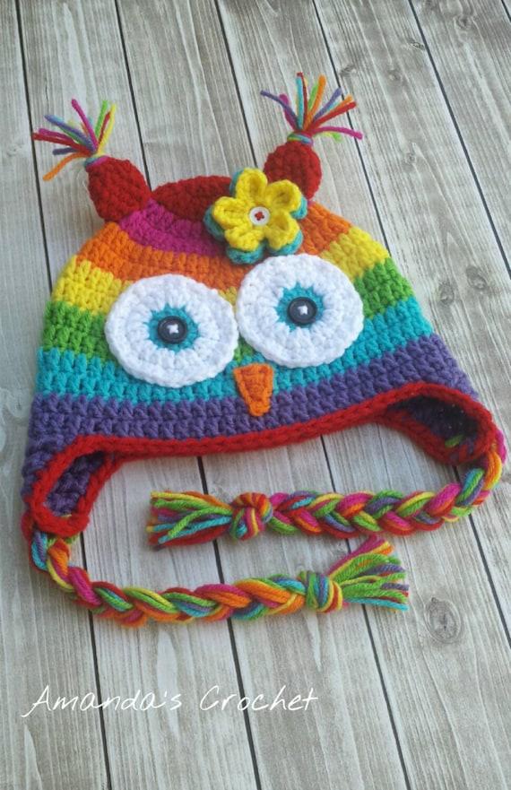 Rainbow Owl Crochet Baby Hat