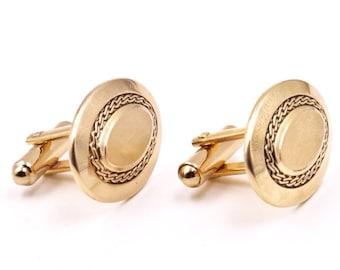 Gold monogramable cufflinks, vintage Hickok cufflinks, oval cufflinks, gold cufflinks, wedding cufflinks, 1950s cufflinks