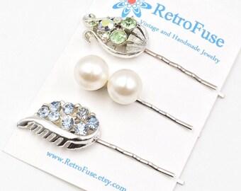 Rhinestone hair pins, green rhinestone hair pin, 1950s vintage wedding, pearl hair pins bridal bobby pins, bany blue rhinestone hair pins