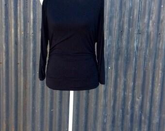 Stylish black open sleeved gathered waist 80's top