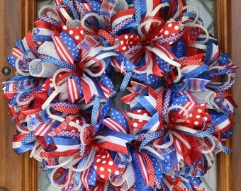 Patriotic Wreath, XL Patriotic Mesh Wreath, 4th of July decoration, Veterans Day, Red White and Blue Wreath