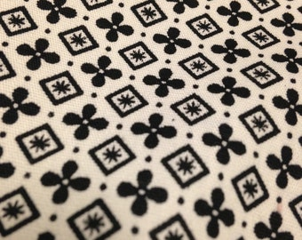 Vintage Black and White Print Fabric