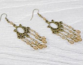 "CLEARANCE - Long Chandelier Earrings in Antiqued Gold with Czech Preciosa Crystal in Smoke Topaz Brown 3.5"" length / Boho Crystal Earrings"